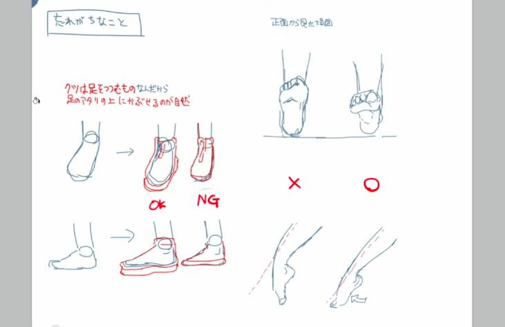 と思うかもしれませんが服を描くときのように素体(アタリ)に密着させて靴を描いてしまうと不自然な仕上がりになってしまいます。